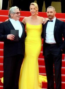 George Miller, Charlize Theron y Tom Hardy en la presentación de Mad Max: Furia en la carretera en Cannes 2015 (©GeorgesBiard)