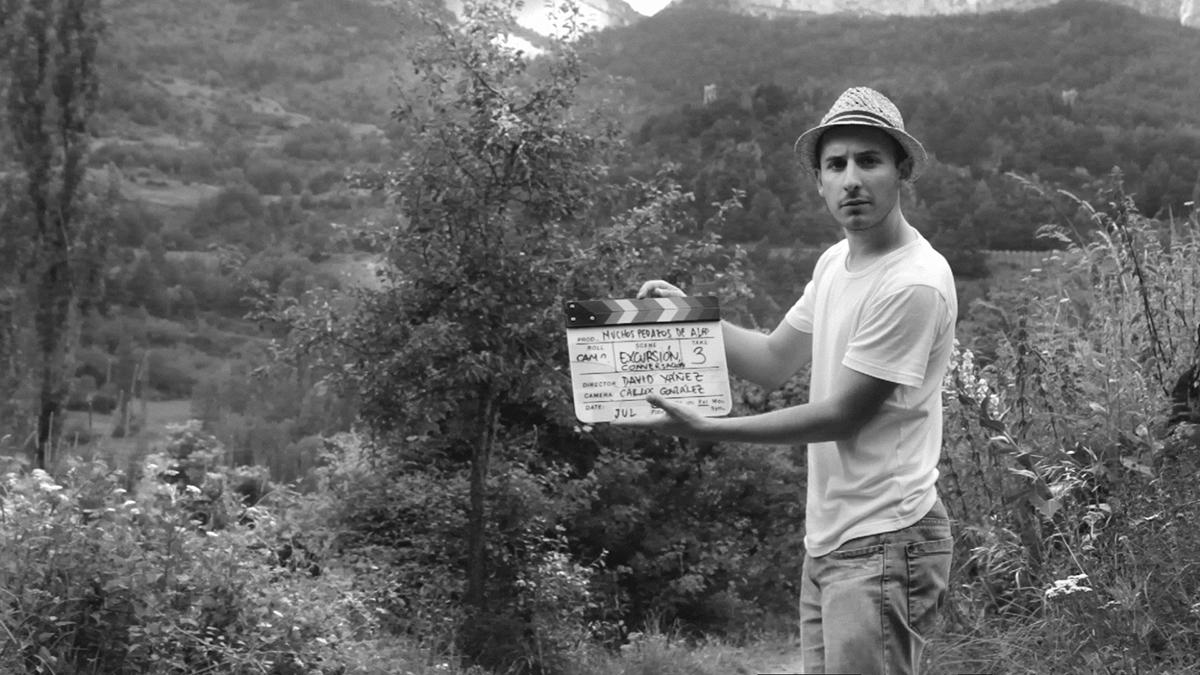 David Yáñez en el rodaje de Muchos pedazos de algo