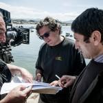 Alfredo Mayo, Gerardo Herrero y Carmelo Gómez en el rodaje de La playa de los ahogados