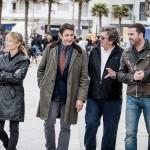 Marta Larralde, Carmelo Gómez, Gerardo Herrero y Antonio Garrido en el rodaje de La playa de los ahogados