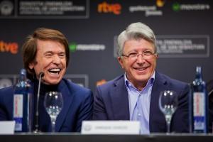 Raphael y Enrique Cerezo en la presentación de Mi gran noche en el 63 Festival de San Sebastián