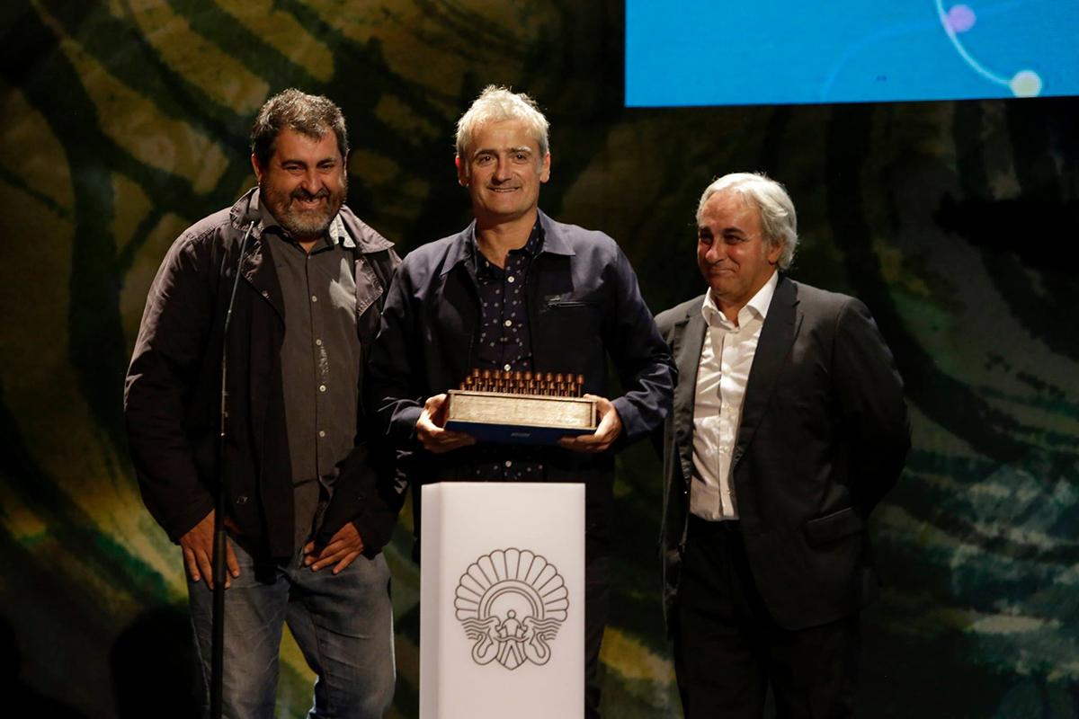 Telmo Esnal, Asier Altuna y Joanes Urkixo en el 63 Festival de San Sebastián (©IñakiPardo)