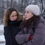Daniela Féjerman y Nora Navas en el rodaje de La adopción