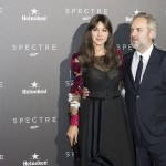 Monica Belluci y Sam Mendes en la premier de Spectre