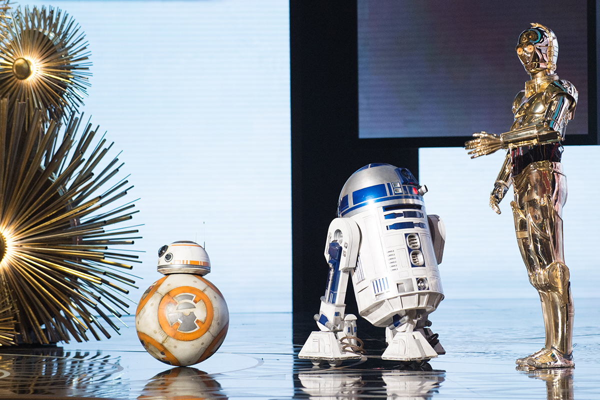 BB-8, R2-D2 y C-3PO en los Oscars 2016 (Oscars®)
