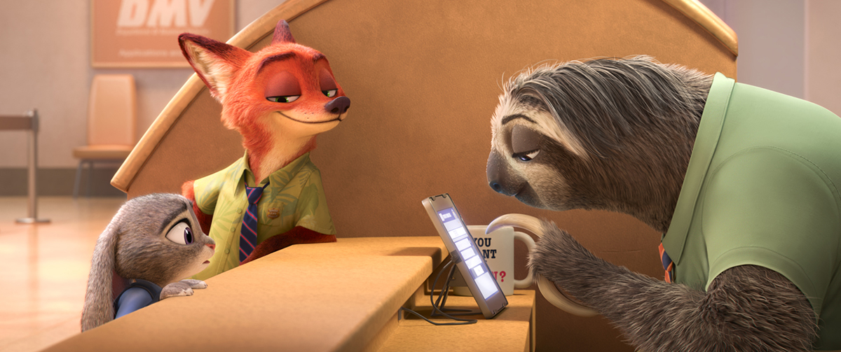 Judy Hopps, Nick Wilde y Flash en Zootrópolis
