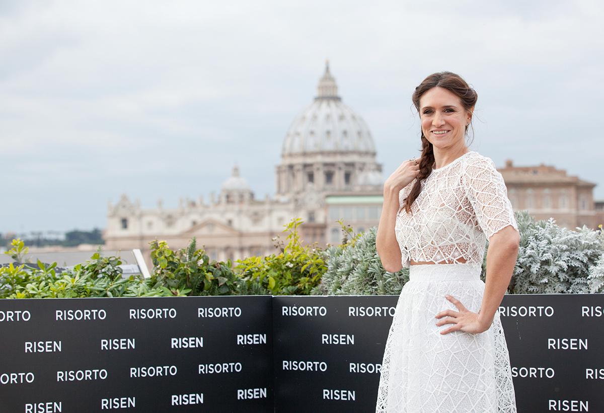 María Botto en la presentación de Resucitado en Roma