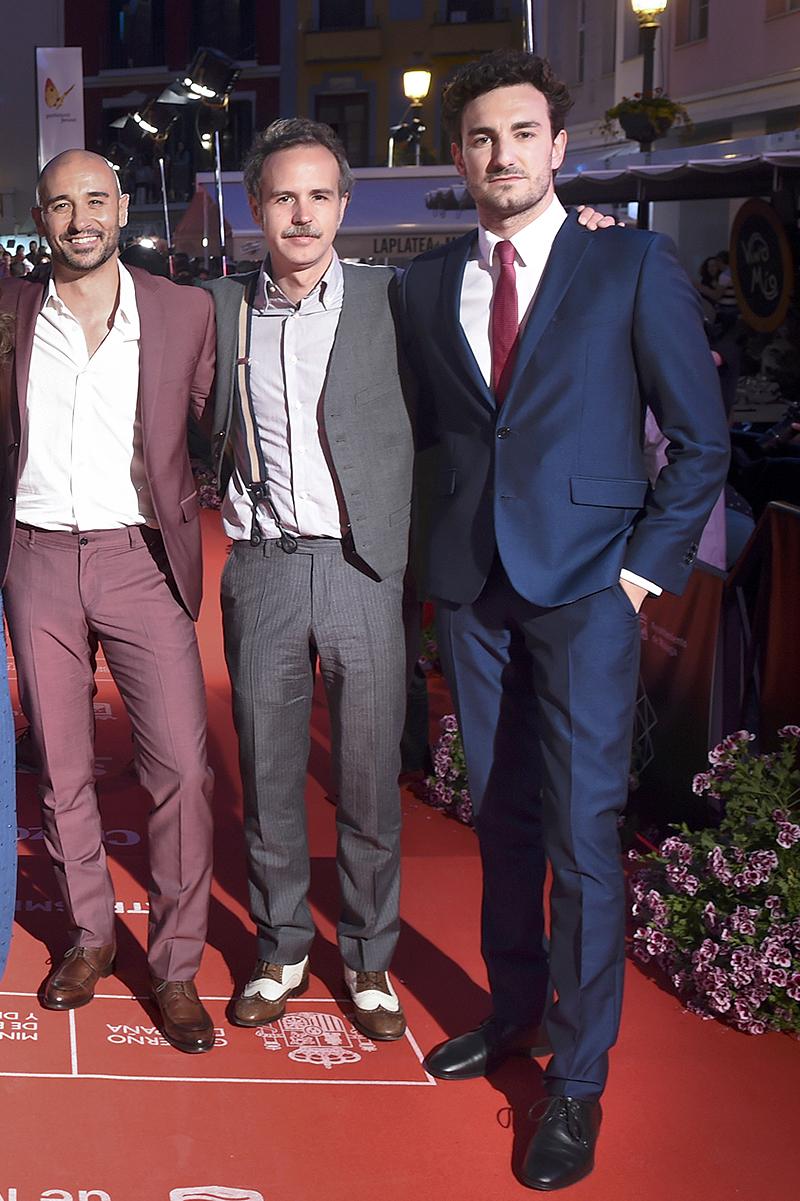 Alain Hernández, Marc Crehuet y Miki Esparbé en la presentación de El rey tuerto en el 19 Festival de Málaga