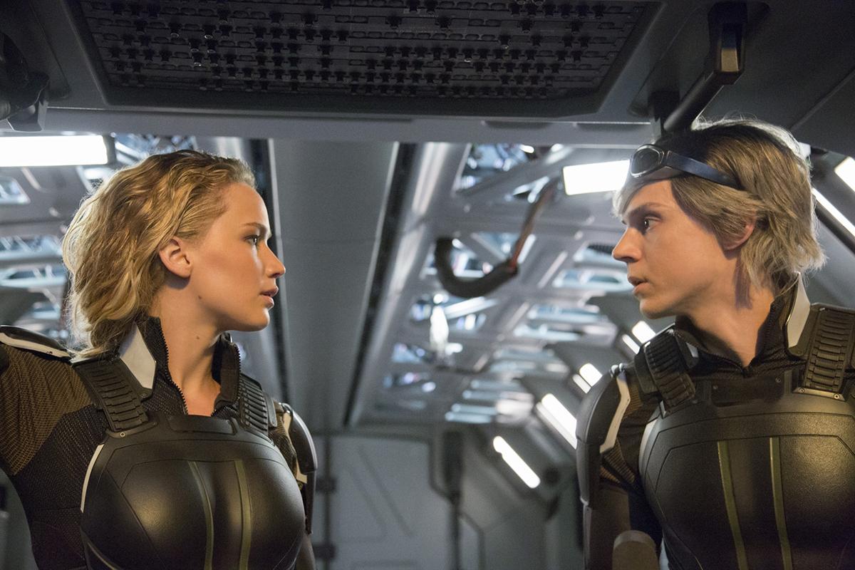 Jennifer Lawrence y Evan Peters en X-Men: Apocalipsis