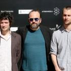 Pablo Hernando, Juan Cavestany y Julián Génisson en la presentación de Esa sensación en el 19 Festival de Málaga