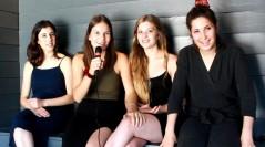 Elena Martín, Victòria Serra, Marta Cañas y Carla Linares en la presentación de Las amigas de Àgata