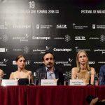 Bárbara Goenaga, María Valverde, Koldo Serra, Ingrid García Jonsson y Julián Villagrán en la presentación de Gernika en el 19 Festival de Málaga (©pipofernendez)