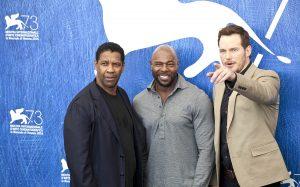 Denzel Washington, Antonie Fuqua y Chris Pratt en la presentación de Los siete magníficos en el 73 festival de Venecia