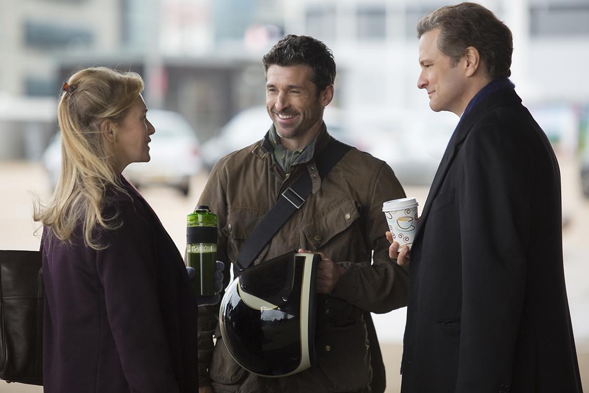 Renée Zellweger, Patrick Dempsey y Colin Firth en Bridget Jones' Baby