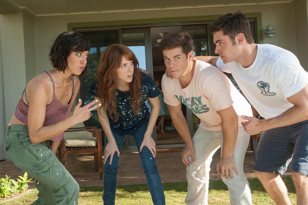 Aubrey Plaza, Anna Kendrick, Adam DeVine y Zac Efron en Mike y Dave buscan rollo serio