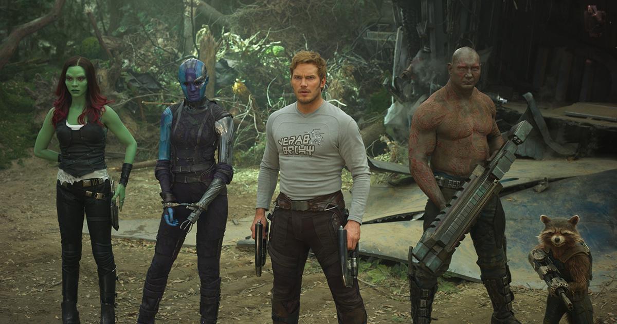 Zoe Saldana, Karen Gillan, Chris Pratt, Dave Bautista y Bradley Cooper (Rocket) en Guardianes de la Galaxia Vol. 2