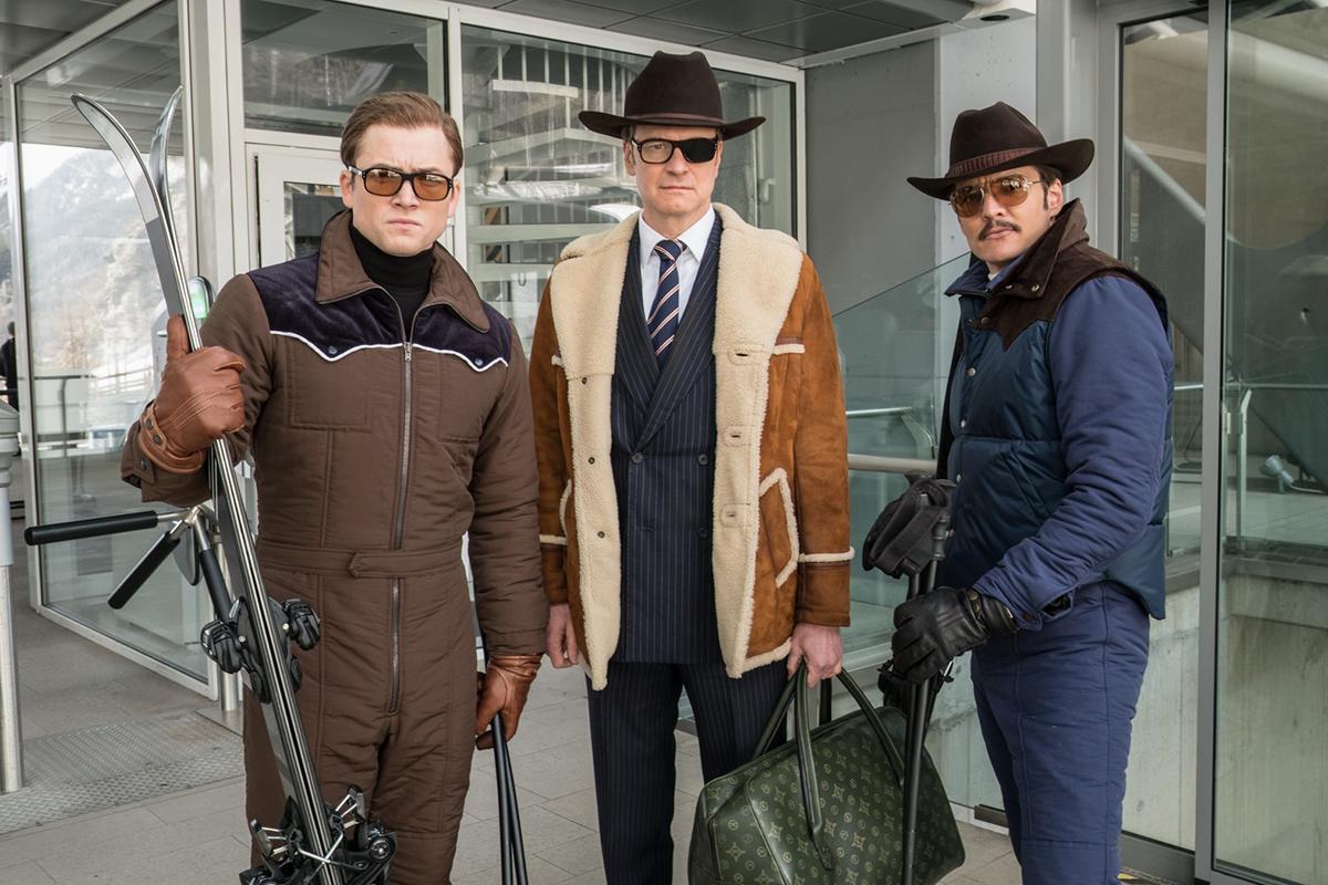 Taron Egerton, Colin Firth y Pedro Pascal en Kingsman: El círculo de oro