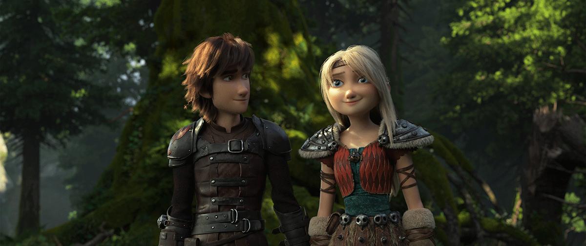 Hipo y Astrid en Cómo entrenar a tu dragón 3