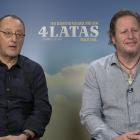 Jean Reno y Gerardo Olivares en la presentación de 4 Latas