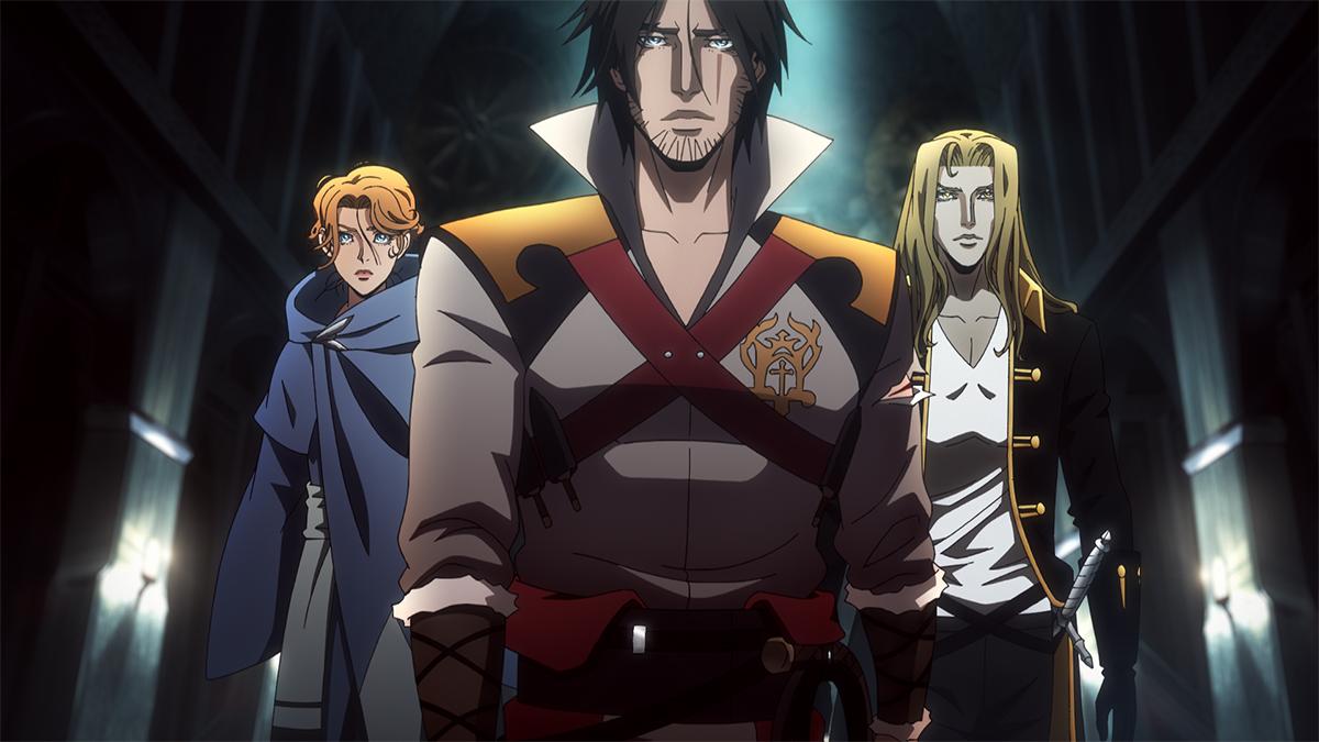 Sypha, Trevor y Alucard en Castlevania