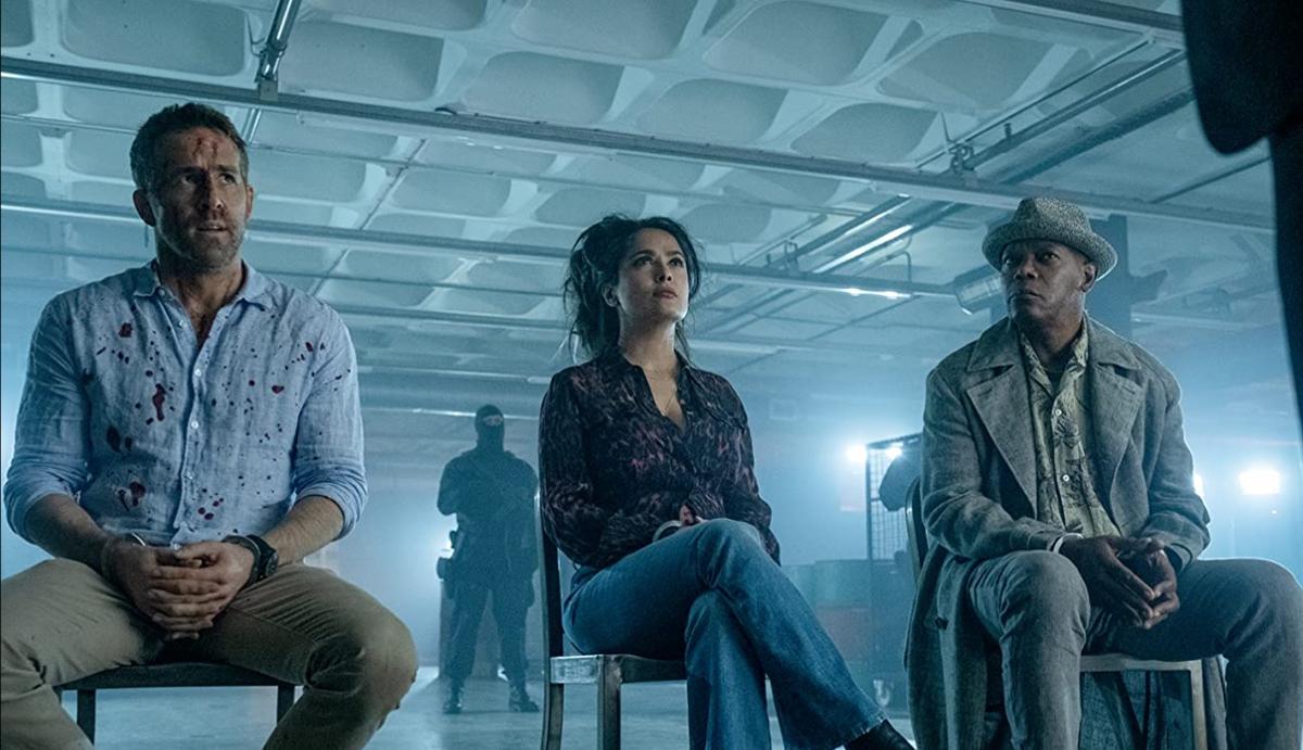 Ryan Reynolds, Salma Hayek y Samuel L. Jackson en El otro guardaespaldas 2